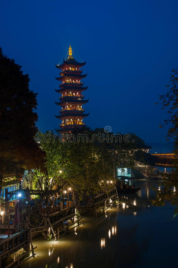 ----- Six southern town of Wuzhen Water Village alley the night royalty free stock photo