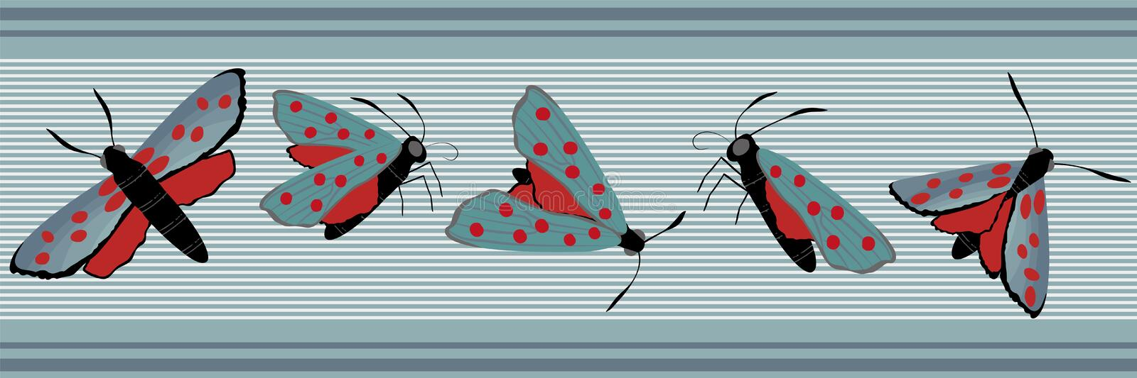 Six spot burnet butterfly seamless vector border. Day flying moth banner on slate blue stripes. Colorful hand drawn royalty free stock photography