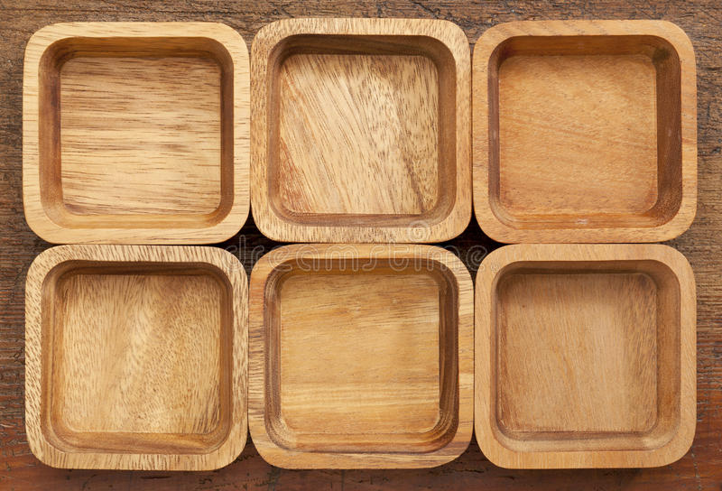 Download Six square wooden bowls stock photo. Image of pattern - 25306878