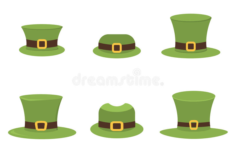 Six St. Patrick`s Day hats isolated on white vector. Six St. Patrick`s Day hats isolated on white for easy extraction. Ireland luck march celebration leprechaun stock illustration