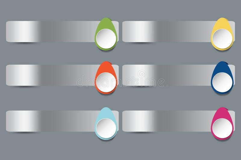Six stainless steel horizontal labels with colorful drops decor. On the gray background ready for your text vector illustration
