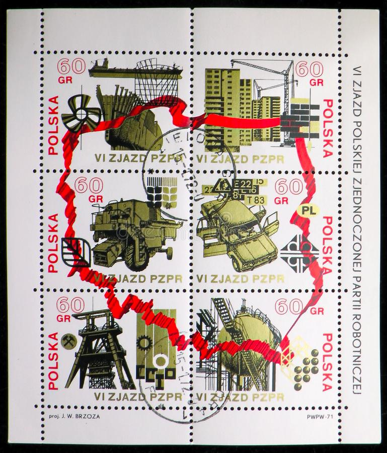 Six stamps printed in Poland shows from the 6th Congress Of The Polish United Worker's Party serie, circa 1971. MOSCOW, RUSSIA - SEPTEMBER 15, 2018: Six stamps royalty free illustration
