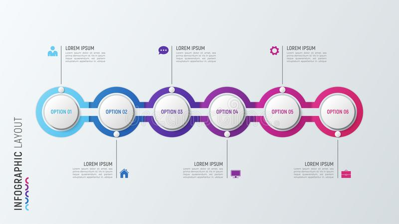 Six steps infographic process chart. 6 options vector template. vector illustration