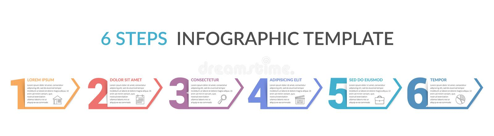 Six Steps Infographic Template. Six numbers with arrows and place for your text, six steps - infographic template stock illustration