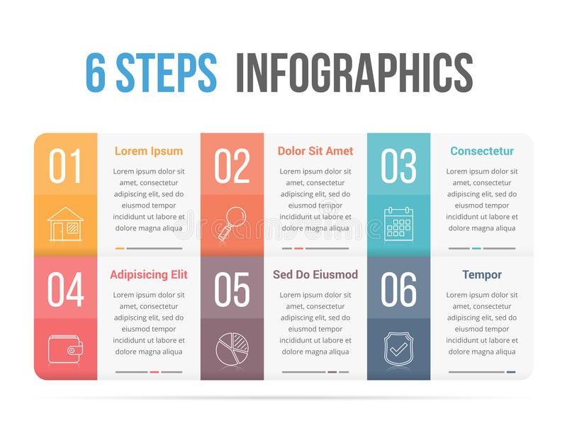Six Steps Infographics. Infographic template with six steps or options, workflow, process diagram stock illustration
