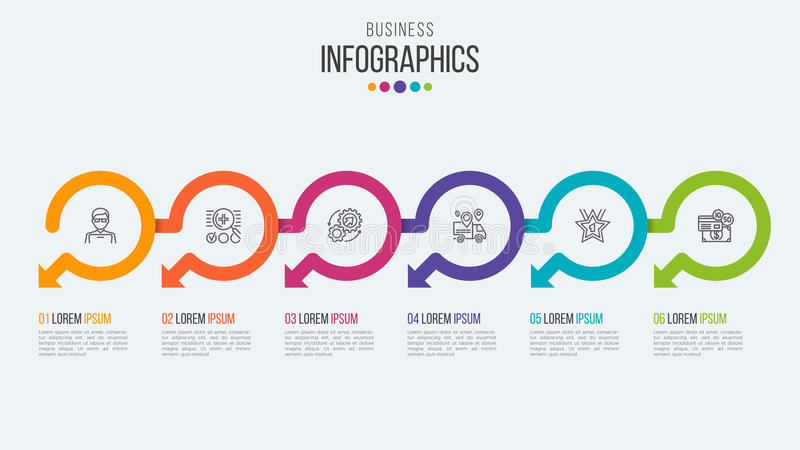 Six steps timeline infographic template with circular arrows. stock illustration