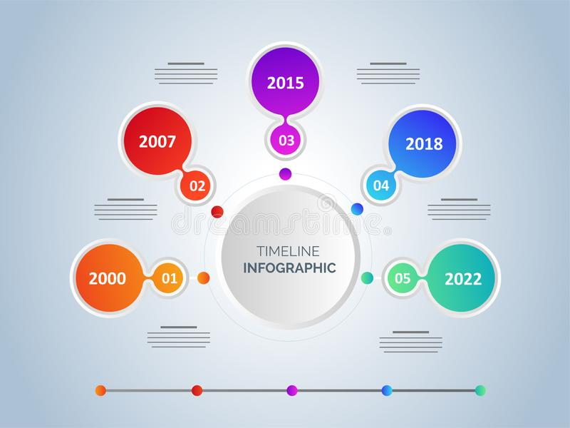 Six steps timeline infographic template design. stock illustration
