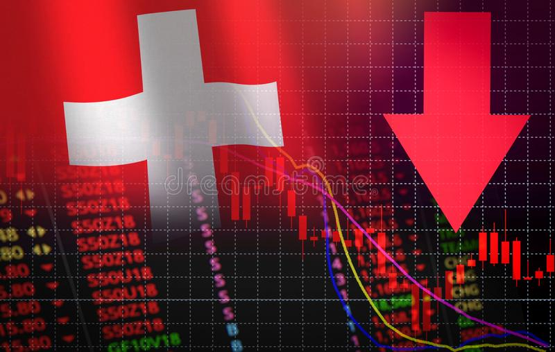 Six swiss exchange market stock crisis red market price down chart fall Business and finance money crisis background red negative. Six swiss exchange market stock illustration