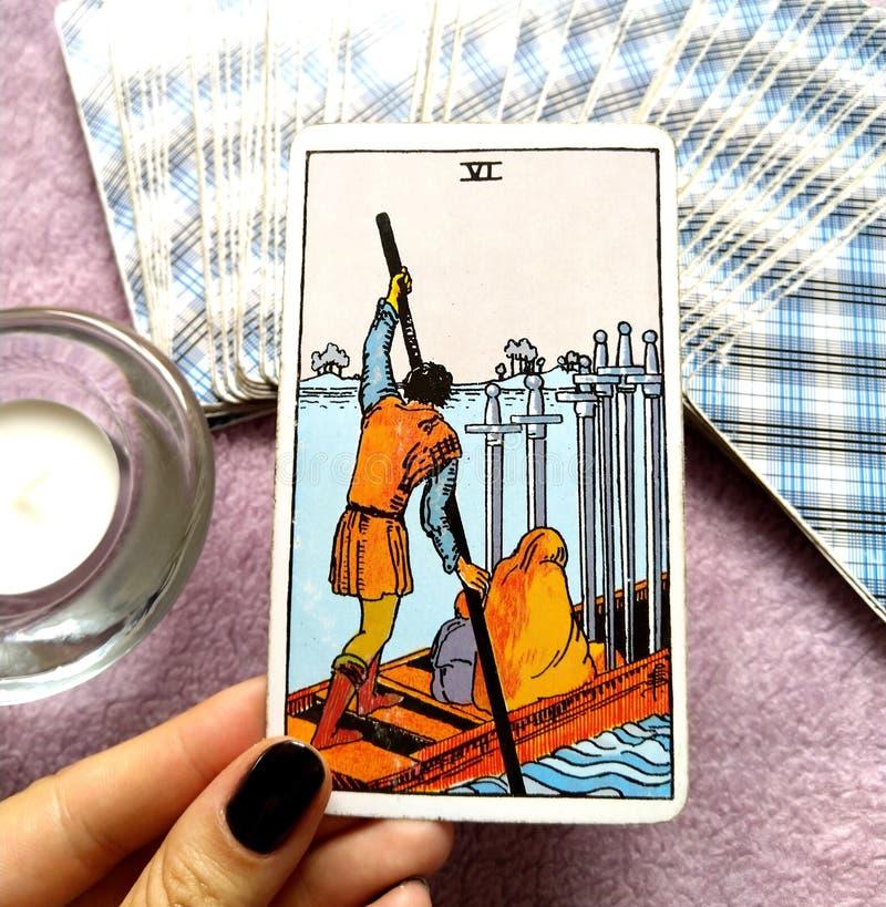 6 Six of Swords Tarot Card Moving On Slow Healing Progress but slow Calmer Waters. 6 Six of Swords Tarot Card. Moving On Slow Healing Progress but slow Calmer vector illustration