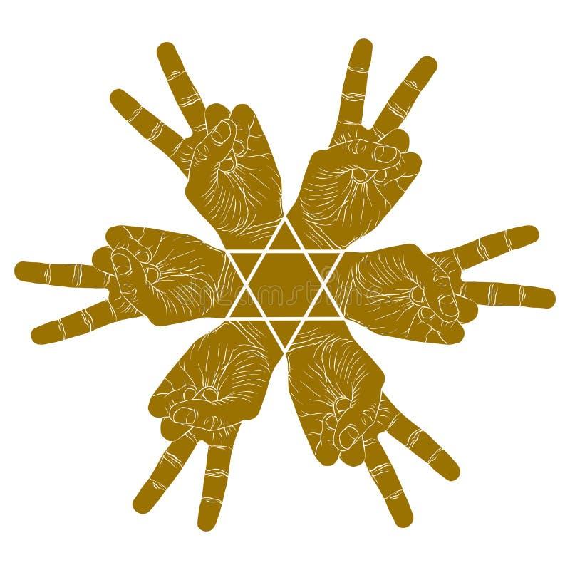Six symboles abstraits de mains de victoire avec l'étoile hexagonale, PS de vecteur illustration stock