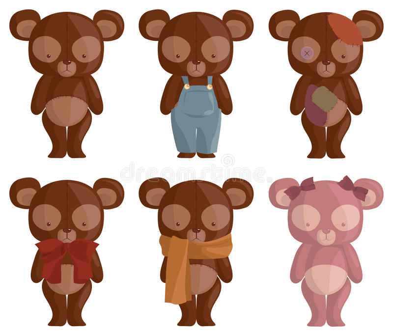 Download Six Teddy Bears stock illustration. Image of sewing, kawaii - 25749211