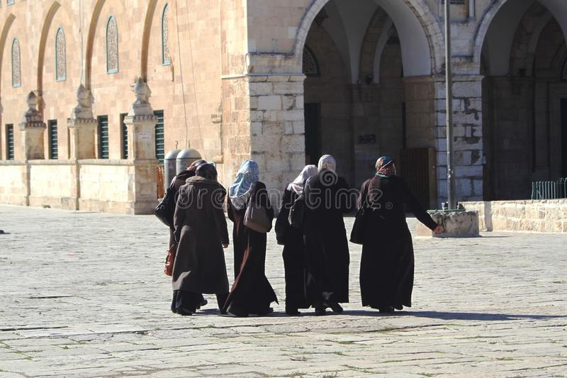 Six traditionally dressed women, Temple Mount royalty free stock image