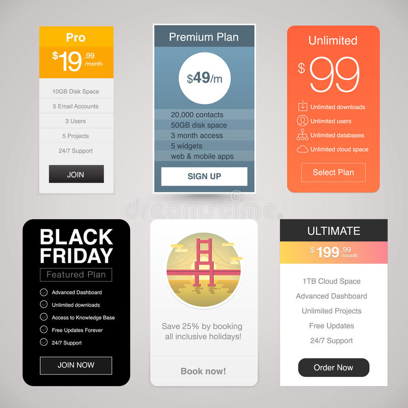 Six Vector Pricing Tables for Web. With different designs stock illustration