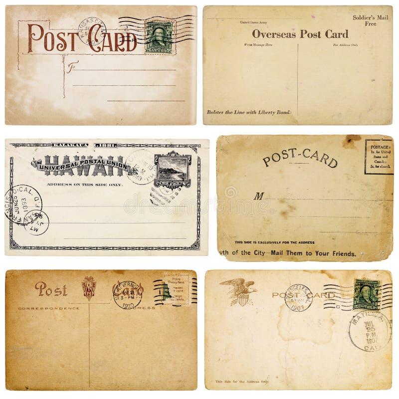 Six Vintage Postcards stock photography