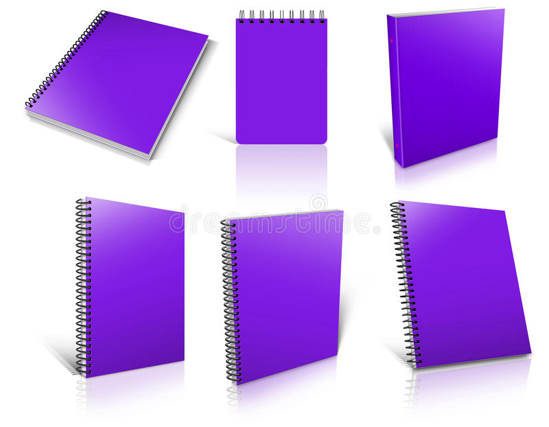 Six violet spiral blank notepad on white. Ready to be personalized by you stock illustration