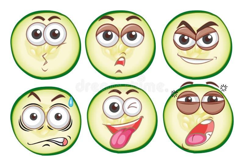 Six visages différents d'expression illustration stock