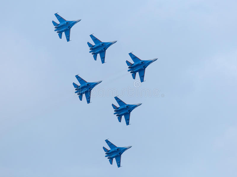 Six war jet planes in sky stock images