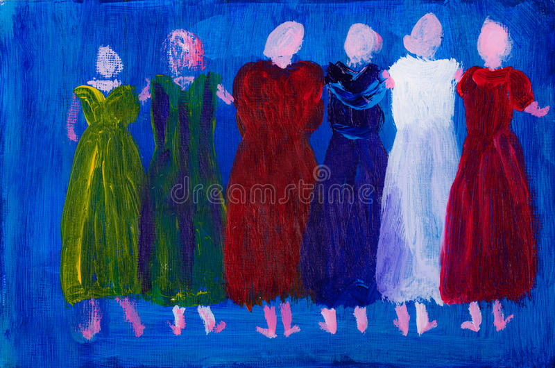 Download Six Women In Dresses Painting Stock Image - Image: 25278979