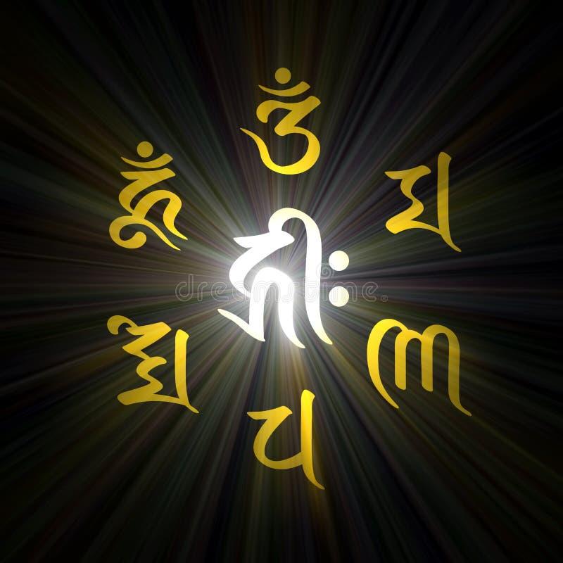 Download Six Word Buddha Mantra Light Flare Stock Illustration - Image: 28619672