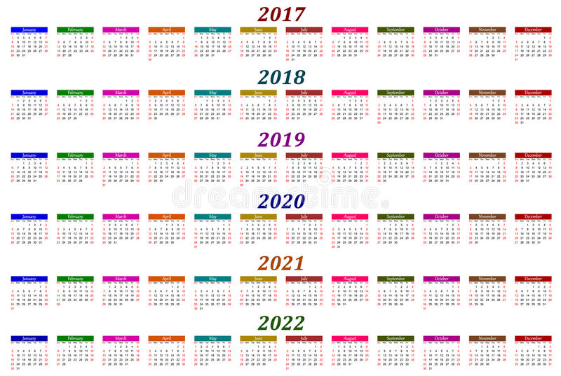Six year calendar - 2017, 2018, 2019, 2020, 2021 and 2022 royalty free illustration