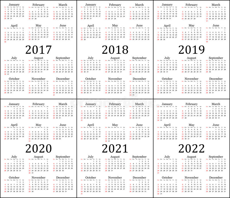 Six year calendar - 2017, 2018, 2019, 2020, 2021 and 2022 stock illustration