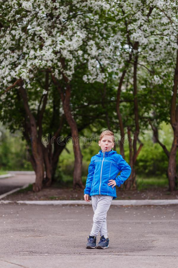 A six-year-old boy with a Lollipop in his mouth in full growth in the spring near a flowering Apple tree. spring. Bloom royalty free stock photo