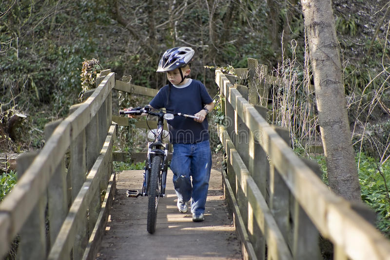 Download Six Year Old Boy Pushing A Bike Stock Image - Image: 14352177