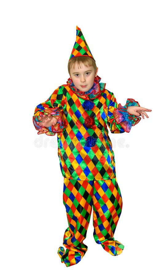 Six year old funny cute dancing boy in the clown suit. Without wig and makeup. Full-height portrait royalty free stock photos