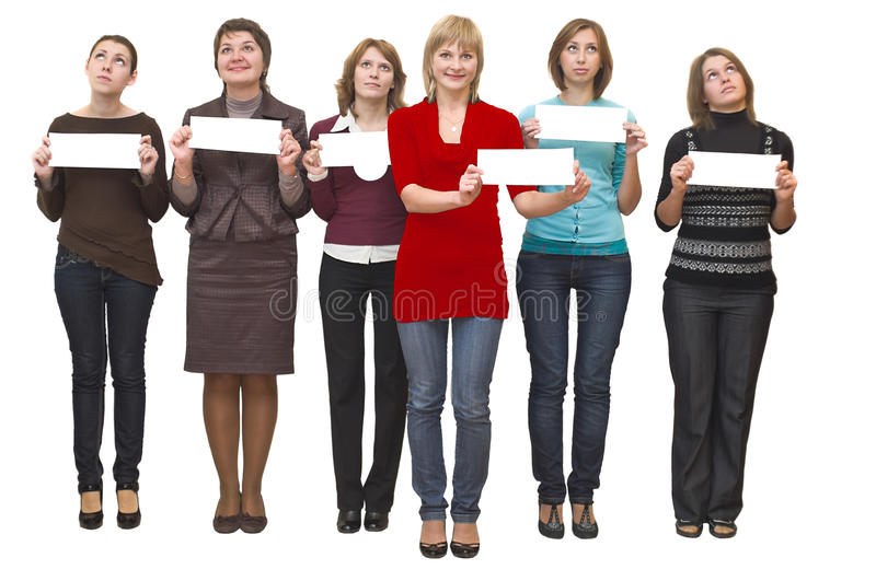 Six young beautiful women represent.. royalty free stock photography
