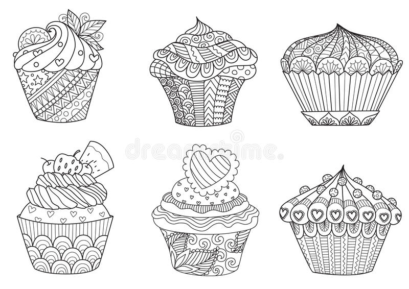 Six zendoodle cupcakes for design element. And adult or kids coloring book page for anti stress.Vector illustration royalty free illustration