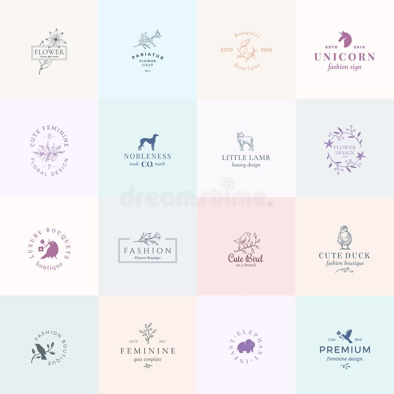 Sixteen Abstract Feminine Vector Signs or Logo Templates Set. Retro Floral Illustration with Classy Typography, Birds. Lamb, Duck, Hound, Unicorn and Elephant royalty free illustration