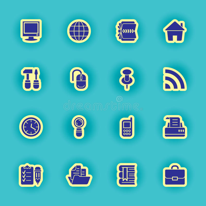 Sixteen black computer icons stock illustration