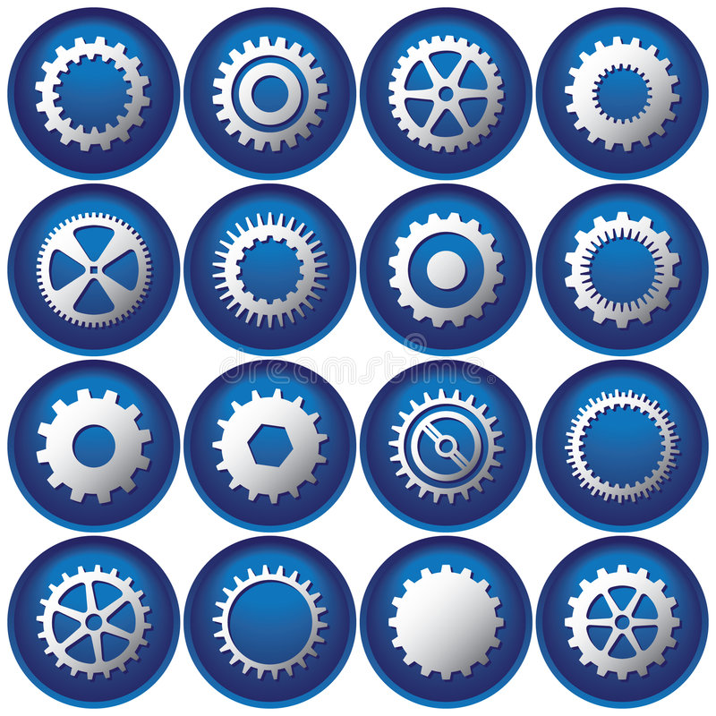 Free Sixteen Cog Buttons/Icons Royalty Free Stock Photography - 3317917