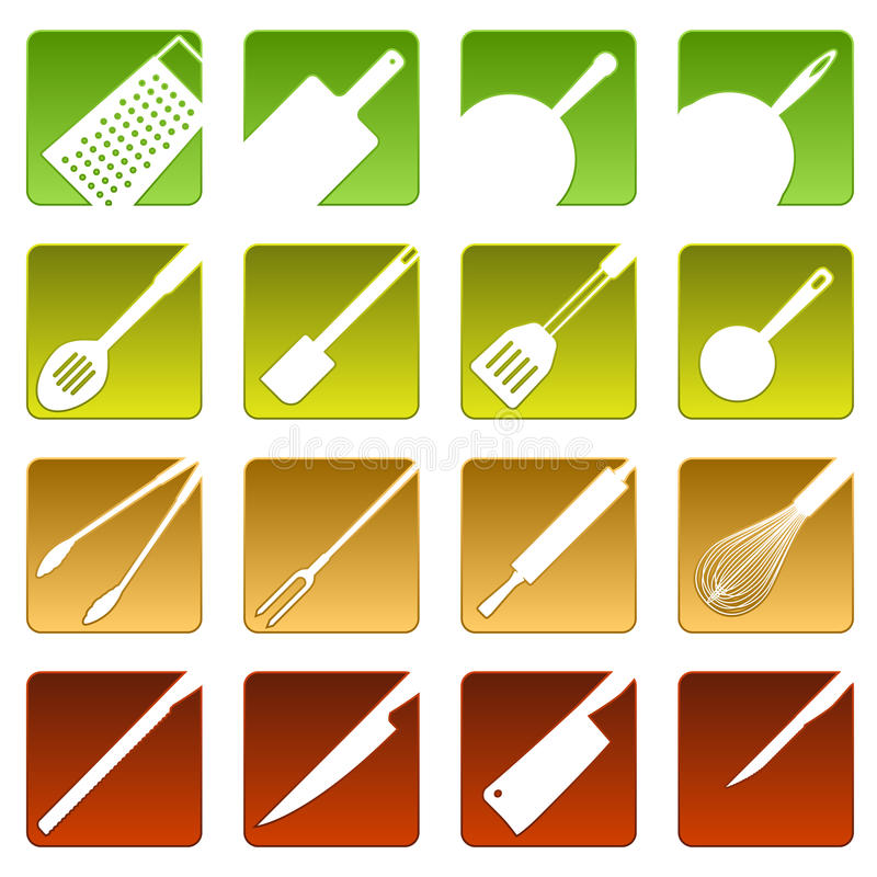 Sixteen cooking icons stock illustration