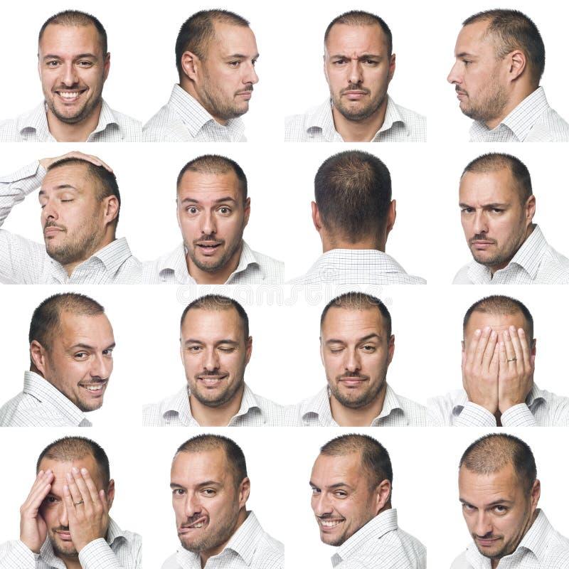 Sixteen facial expressions of a man royalty free stock photos