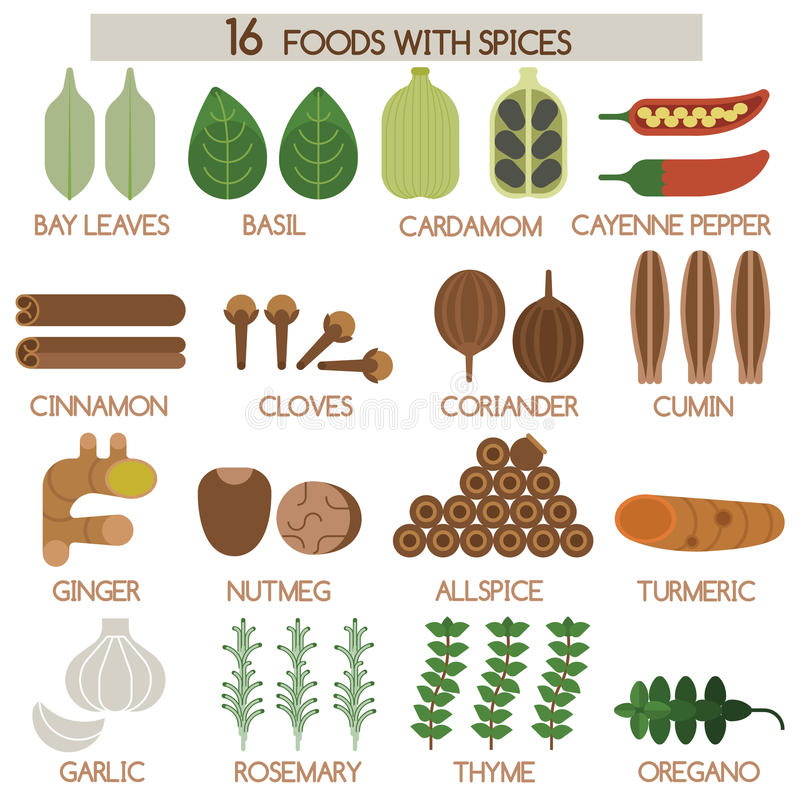Free Sixteen Foods With Spices Stock Photos - 46993683