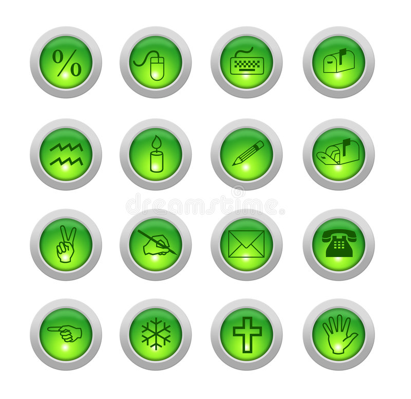 Sixteen green buttons