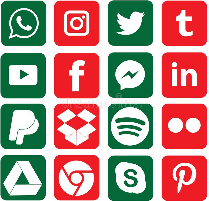 Green and Red colored Social Media Icons For Christmas. Sixteen green and red colored, favorite social media and web icons for Christmas stock illustration