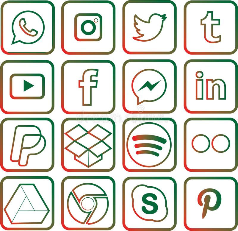 Green and red colored Social Media Icons For Christmas. Sixteen green and red colored, outline favorite social media and web icons for Christmas royalty free illustration