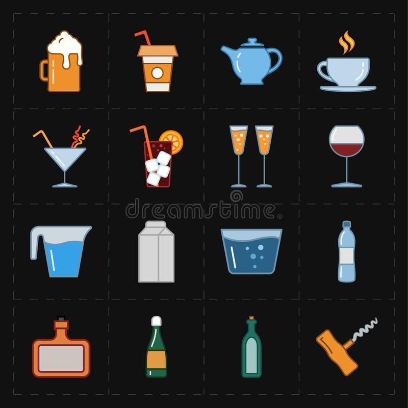 Sixteen modern flat bar icons. This is a vector illustration of sixteen modern flat bar icons vector illustration
