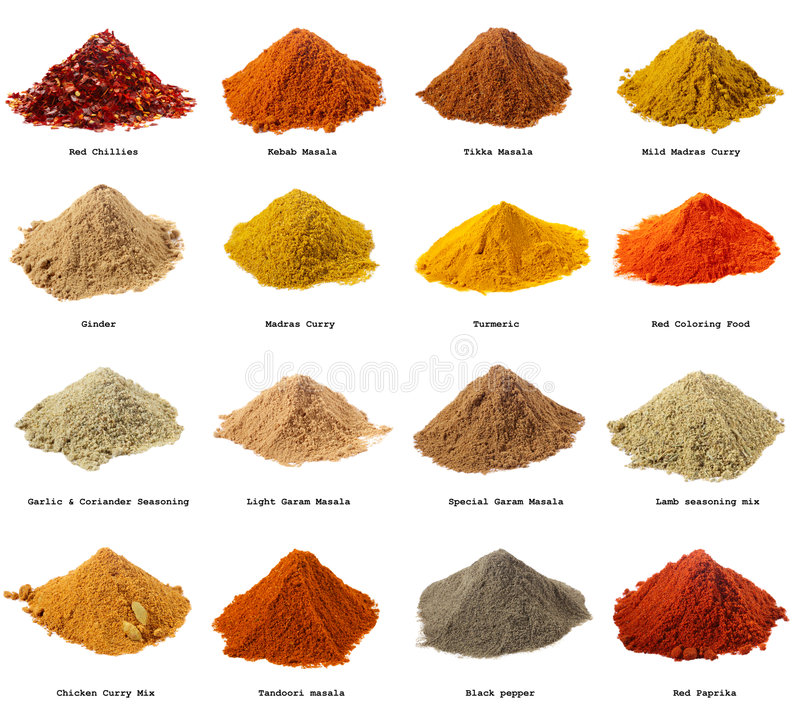 Free Sixteen Piles Of Indian Powder Spices Stock Photography - 8273552