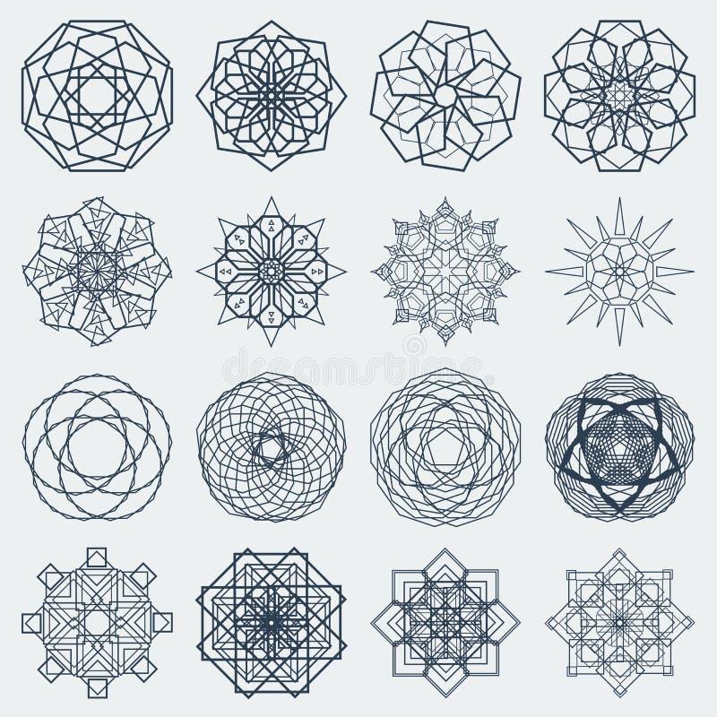 Sixteen vector round mandalas royalty free illustration