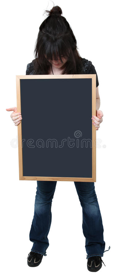 Download Sixteen Year Old Girl With Blank Chalkboard Stock Image - Image: 11329745