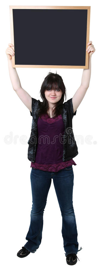 Sixteen Year Old Girl with Blank Chalkboard stock photo