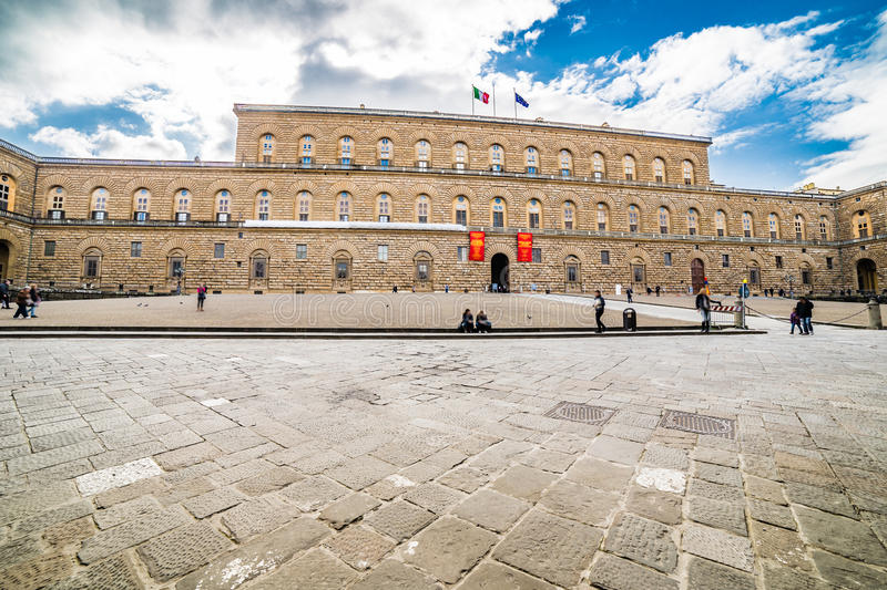 The sixteenth century walls. Of Pitti Palace in Florence, in Italy, residence of the grand-dukes of Tuscany and later of the King of Italy stock image