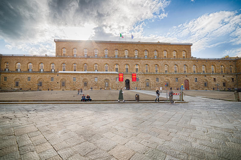 The sixteenth century walls. Of Pitti Palace in Florence, in Italy, residence of the grand-dukes of Tuscany and later of the King of Italy stock photos