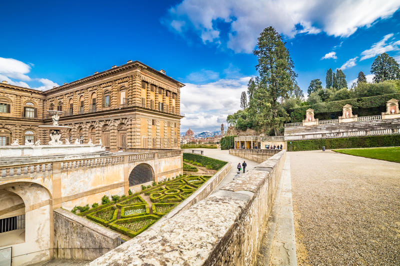 The sixteenth century walls. Of Pitti Palace in Florence, in Italy, residence of the grand-dukes of Tuscany and later of the King of Italy and Italian garden stock images
