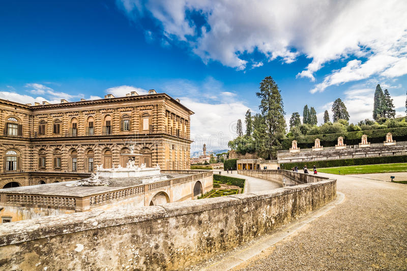 The sixteenth century walls. Of Pitti Palace in Florence, in Italy, residence of the grand-dukes of Tuscany and later of the King of Italy and Italian garden stock photography