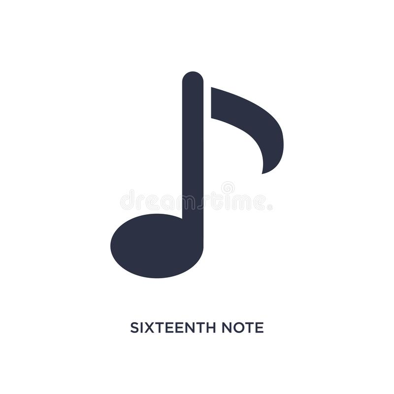 sixteenth note icon on white background. Simple element illustration from music and media concept royalty free illustration