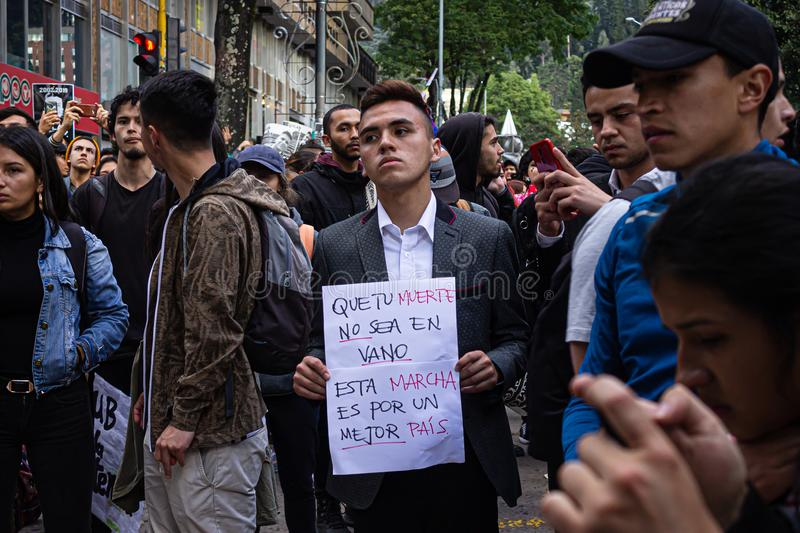 Sixth day of protests in Bogota Colombia royalty free stock images